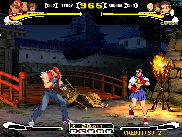 In-game screen of the game Capcom Vs. SNK - Millennium Fight 2000 on Naomi