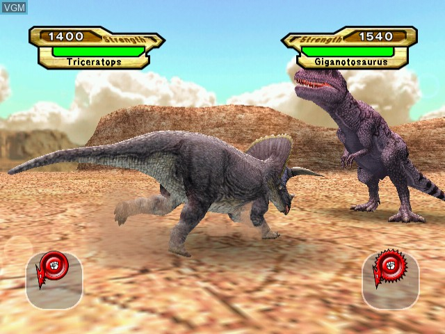 In-game screen of the game Dinosaur King on Naomi