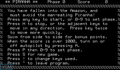 Title screen of the game Piranha on Nascom