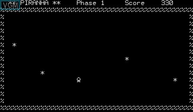 In-game screen of the game Piranha on Nascom
