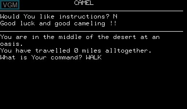 In-game screen of the game Camel on Nascom
