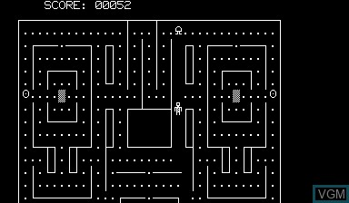 In-game screen of the game Pacman 2 on Nascom