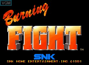 Title screen of the game Burning Fight on SNK NeoGeo CD