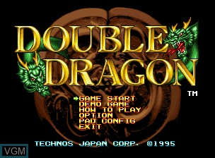 Title screen of the game Double Dragon on SNK NeoGeo CD