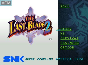 Title screen of the game Bakumatsu Roman Dai Ni Maku Gekka no Kenshi - Tsuki ni Saku Hana, Chiriyuku Hana on SNK NeoGeo CD