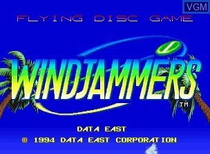 Title screen of the game Flying Power Disc on SNK NeoGeo CD