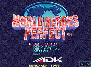 Title screen of the game World Heroes Perfect on SNK NeoGeo CD