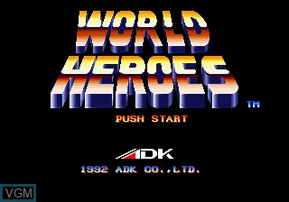 Title screen of the game World Heroes on SNK NeoGeo CD
