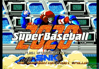 Title screen of the game 2020 Super Baseball on SNK NeoGeo CD