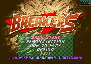 Title screen of the game Breakers on SNK NeoGeo CD