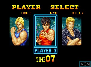 Menu screen of the game Burning Fight on SNK NeoGeo CD