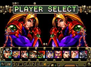 Menu screen of the game Choujin Gakuen Gowcaizer on SNK NeoGeo CD