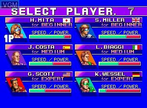 Menu screen of the game Flying Power Disc on SNK NeoGeo CD