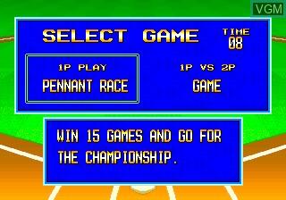 Menu screen of the game Baseball Stars 2 on SNK NeoGeo CD