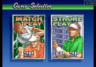 Menu screen of the game Big Tournament Golf on SNK NeoGeo CD