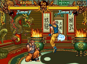In-game screen of the game Double Dragon on SNK NeoGeo CD