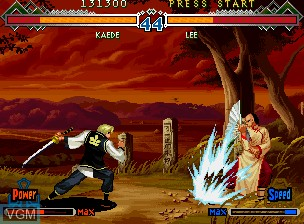 In-game screen of the game Bakumatsu Roman Dai Ni Maku Gekka no Kenshi - Tsuki ni Saku Hana, Chiriyuku Hana on SNK NeoGeo CD