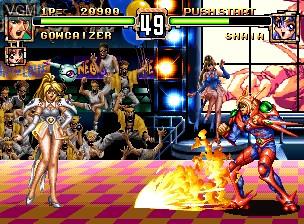 In-game screen of the game Choujin Gakuen Gowcaizer on SNK NeoGeo CD