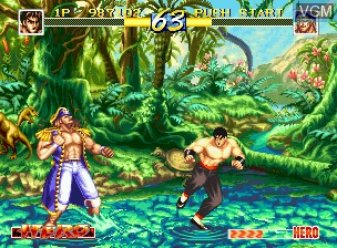 In-game screen of the game World Heroes Perfect on SNK NeoGeo CD