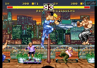 In-game screen of the game Fighter's History Dynamite on SNK NeoGeo CD