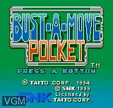 Title screen of the game Bust-A-Move Pocket on SNK NeoGeo Pocket