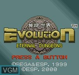 Title screen of the game Evolution - Eternal Dungeons on SNK NeoGeo Pocket