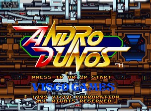 Title screen of the game Andro Dunos on SNK NeoGeo