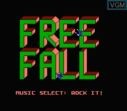 Title screen of the game Free Fall on Nintendo NES