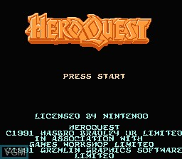Title screen of the game Hero Quest on Nintendo NES