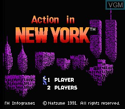 Title screen of the game Action in New York on Nintendo NES