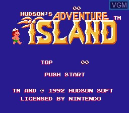 Title screen of the game Adventure Island Part II, The on Nintendo NES