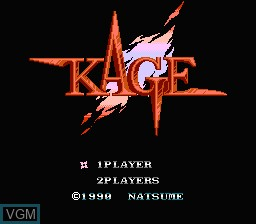 Title screen of the game Kage on Nintendo NES