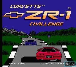 Title screen of the game Corvette ZR-1 Challenge on Nintendo NES