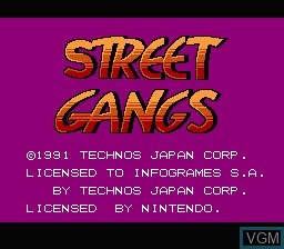 Title screen of the game Street Gangs on Nintendo NES