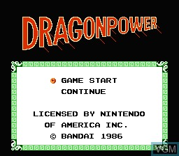 Title screen of the game Dragon Power on Nintendo NES