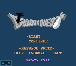Title screen of the game Dragon Quest on Nintendo NES