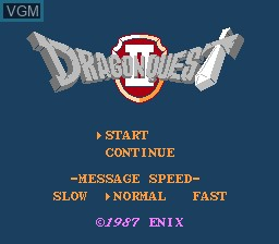 Title screen of the game Dragon Quest II - Akuryou no Kamigami on Nintendo NES