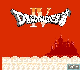 Title screen of the game Dragon Quest IV on Nintendo NES