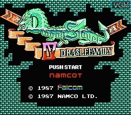 Title screen of the game Dragon Slayer 4 - Drasle Family on Nintendo NES