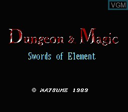Title screen of the game Dungeon & Magic - Swords of Element on Nintendo NES