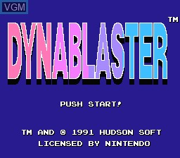 Title screen of the game Dynablaster on Nintendo NES