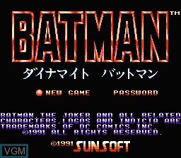 Title screen of the game Dynamite Batman on Nintendo NES