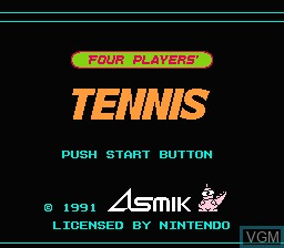 Title screen of the game Four Players Tennis on Nintendo NES