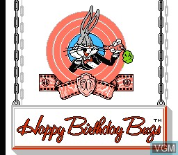 Title screen of the game Happy Birthday Bugs on Nintendo NES