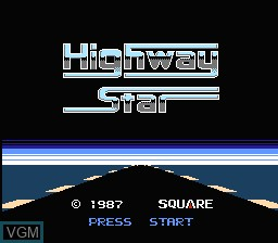 Title screen of the game Highway Star on Nintendo NES