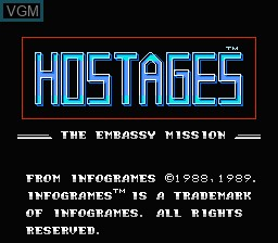 Title screen of the game Hostages - The Embassy Mission on Nintendo NES