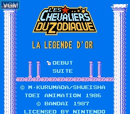 Title screen of the game Les Chevaliers du Zodiaque - La Legende d'Or on Nintendo NES