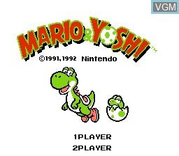 Title screen of the game Mario & Yoshi on Nintendo NES