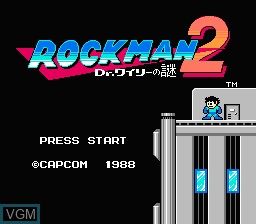 Title screen of the game Rockman 2 - Dr. Wily no Nazo on Nintendo NES