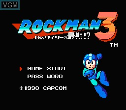 Title screen of the game Rockman 3 - Dr. Wily no Saigo! on Nintendo NES